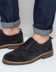 Asos Lace Up Shoes Navy Suede Navy