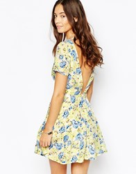 Goldie Leap Of Faith Skater Dress With Open Back Yellow Blue