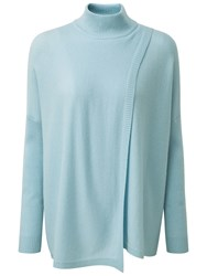 Pure Collection Hambleton Wrap Front Cashmere Poncho Duck Egg