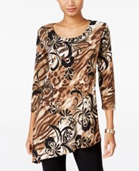 Jm Collection Printed Asymmetrical Hem Top Only At Macy's Alpine Animal