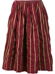 Uma Wang Striped Full Skirt Red