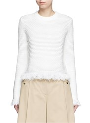 Proenza Schouler Fringed Woven Jacquard Wool Cotton Top White