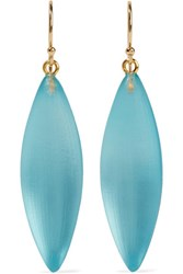 Alexis Bittar Gold Tone Enamel And Glass Earrings Turquoise