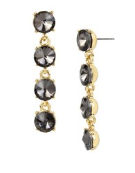 Kenneth Cole Faceted Stone Linear Earrings Black