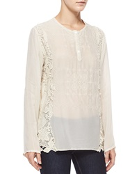 Johnny Was Long Sleeve Lace Overlay Blouse
