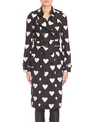 Burberry Sandringham Heart Print Trench Coat Black White