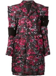 Comme Des Garcons Angular Flower Print Coat Black