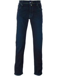 Jacob Cohen Contrast Stitching Straight Leg Trousers Blue