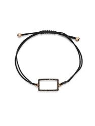 Diane Kordas Black Diamond And 18K Rose Gold Rectangle Cord Bracelet