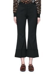 Stella Mccartney Flared Cuff Cropped Wool Crepe Pants Black