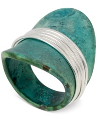 Robert Lee Morris Soho Silver Tone Wire Wrapped Sculptural Patina Ring