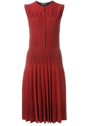 Alexander Mcqueen Ribbed Knit Dress Red