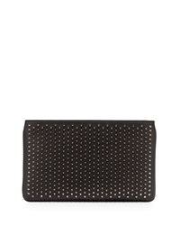 Christian Louboutin Loubiposh Spiked Clutch Bag Black Black Gun Metal
