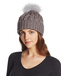 Aqua Metallic Cable Knit Beanie With Asiatic Raccoon Fur Pom Pom Dark Gray