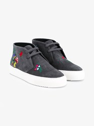 Mira Mikati Forest Embroidered Suede Shoes Grey Multi Coloured White Denim