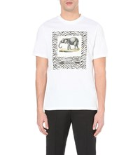 Oamc Elephant Print Cotton Jersey T Shirt White