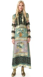 Anna Sui Patchwork Bouquet Maxi Dress Jade Multi
