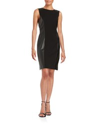 Tahari By Arthur S. Levine Faux Leather Sheath Dress Black
