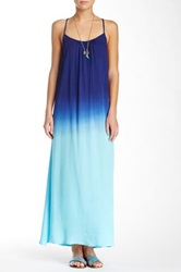 Raviya Crossed Back Ombre Dip Dye Maxi Dress Blue