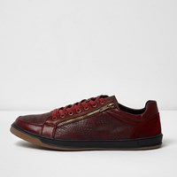 River Island Mens Dark Red Textured Lace Up Trainers