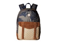 Roxy Melrose Backpack Indo Floral Combo Dusty Olive Backpack Bags Gray