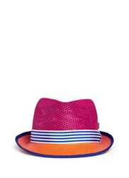 My Bob 'Trilby Aero' Colourblock Straw Panama Hat Multi Colour