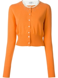 Aviu Chains Trimmed Collar Cardigan Yellow And Orange