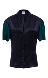 Cynthia Rowley Charmeuse Color Block Blouse Navy