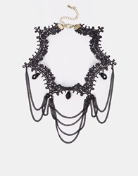 New Look Victorian Lace Choker Necklace Black