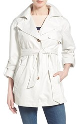 Women's Ellen Tracy Short Single Breasted Chintz Trench Coat Cloud