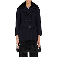 Marc Jacobs Women's Faux Fur Trimmed Peacoat Navy