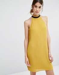 Vero Moda Pleat Ruffle Neck Swing Dress Harvest Gold Yellow