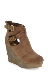 Sbicca Women's 'Javiera' Platform Wedge Bootie Tan Faux Leather