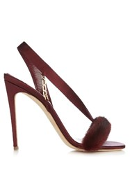 Olgana Paris L'amazone Mink Trimmed Satin Sandals Burgundy