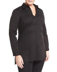 Lafayette 148 New York Casey Button Front Long Sleeve Top Black