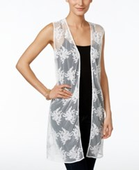 Styleandco. Style And Co. Sheer Embroidered Long Vest Only At Macy's Ivory