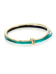 Alexis Bittar Sport Deco Lucite And Liquid Metal Ringed Bangle Bracelet Set Teal Gold Teal