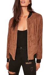 Missguided Women's Faux Suede Bomber Jacket