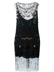Amen Beaded Sheer Panel Dress Black