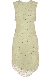 Alexander Lewis Giovanna Embellished Crocheted Lace Dress Green