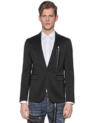 Dsquared Zip Detail Stretch Wool Gabardine Jacket