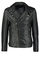 Gipsy Marlon Slim Fit Leather Jacket Schwarz Black
