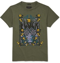 Marc Jacobs Jacob Lim Fit Printed Cotton Jerey T Hirt Green
