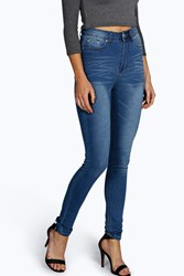 Boohoo Classic High Waisted Skinny Jeans Mid Blue