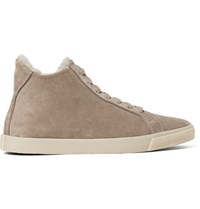 Loro Piana Freetime Winter Walk Shearling Lined Suede High Top Sneakers Mushroom