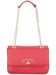 Vivienne Westwood Anglomania Logo Plaque Shoulder Bag Red