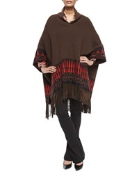Etro Wool Blend Poncho With Suede Fringe Women's Brown