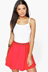 Boohoo Solid Colour Box Pleat Skater Skirt Red