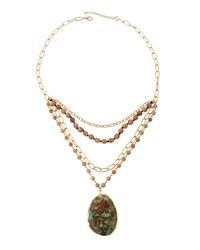 Panacea Golden Multi Row Moonstone And Jasper Necklace Peach Blue
