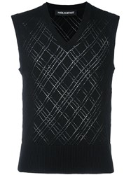 Neil Barrett Perforated Knit Vest Black